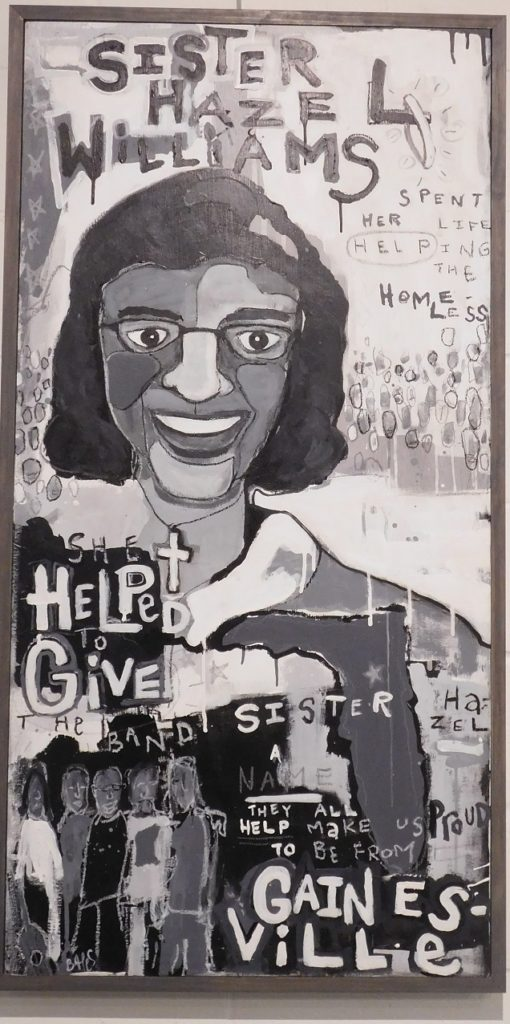 A painting by James Bates pays tribute to Sister Hazel Williams.