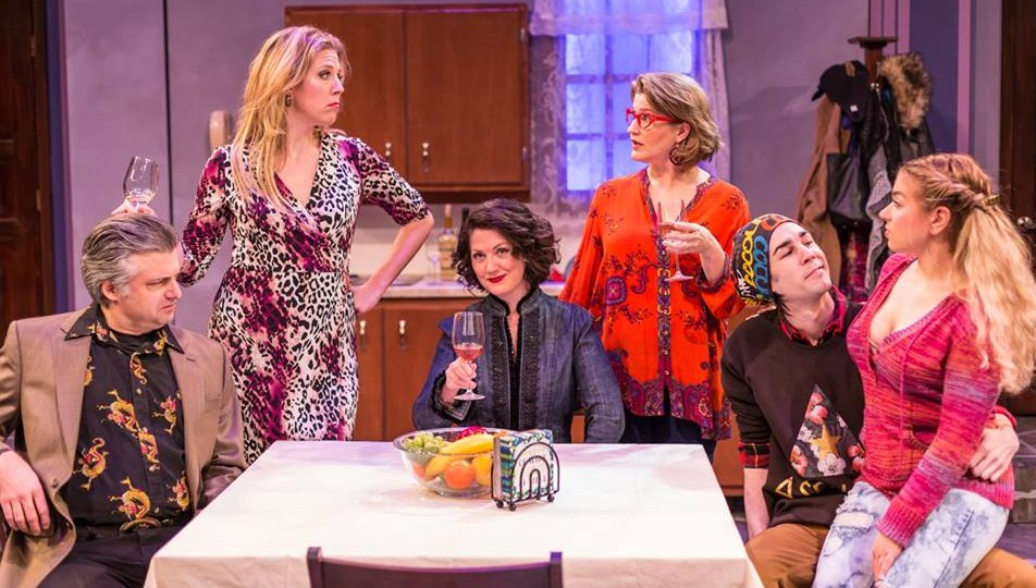 The cast of Women in Jeopardy! from left, Matthew Lindsay, Lija Fisher, Carolyn Pool, Stephanie Lynge, Logan Wolfe and Michele Dalia. Photograph by Michael A Eaddy/Hippodrome)