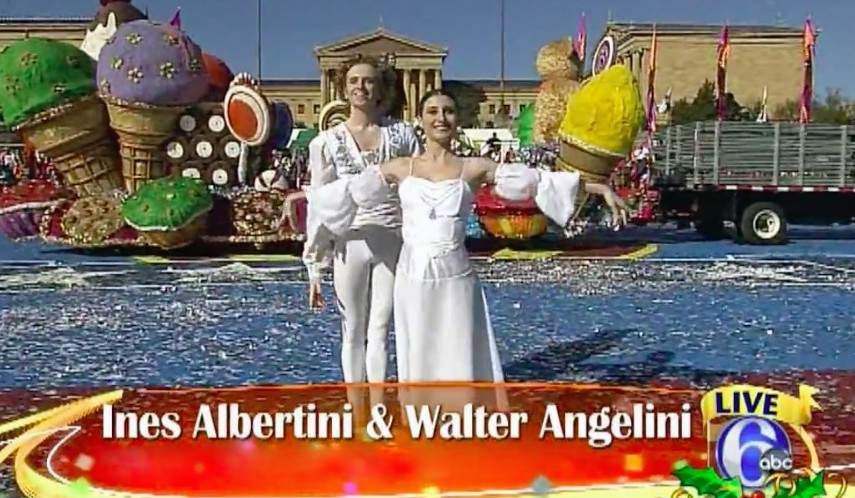 Walter and Ines perform live on television during the 2011 Thanksgiving Day parade in front of the Philadelphia Museum of Art.