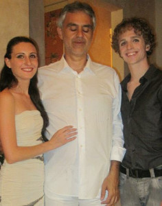 Ines and Walter with opera start Andrea Bocelli, for whom they performed.