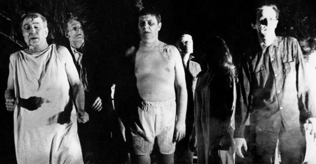 A scene from Night of the Living Dead.