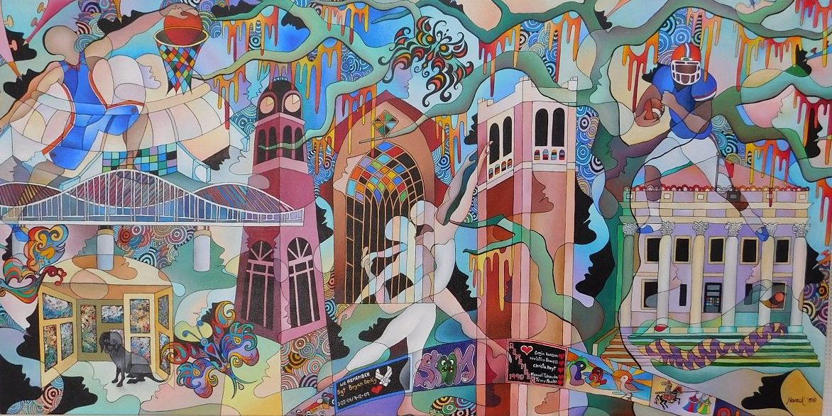 This painting by Gainesville artists Miriam Novack incorporates many landmarks in Gainesville and on the UF campus.