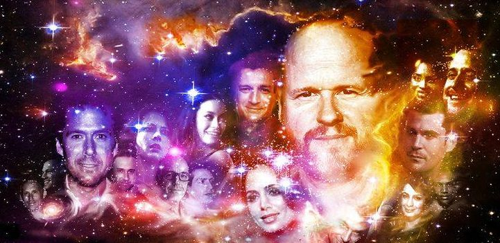 Joss Whedon surrounded by many of the characters he created in Buffy the Vampire slayer, Angel and other shows.