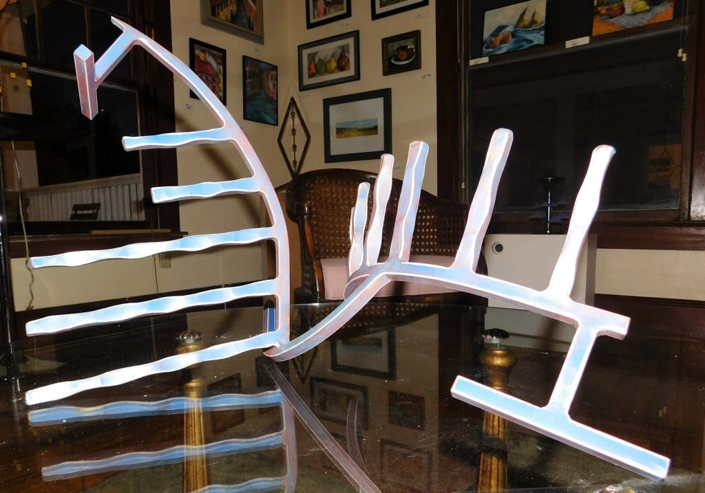 Fishbone sculpture, by Eric Bushnell, on display at the DNA by the Hand of Man Gallery.