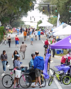 University Avenue buzzes with activity during Active Streets. One mile of the thoroughfare through downtown Gainesville was shut down for four hours.