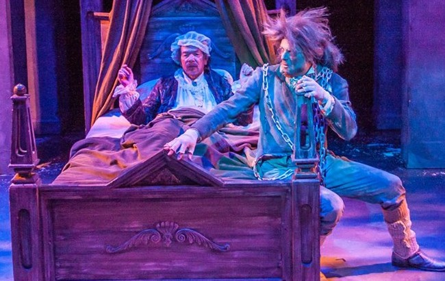 "Rusty Salling as Scrooge, left, and Matthew Lindsay as Ghost of Jacob Marley during last years production of ""A Christmas Carol."""
