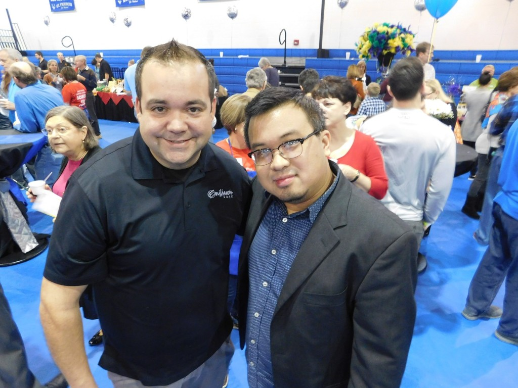 Diego Ibanez, left, of Emilianos Café and Ken Peng at the Souper Fun Sunday. Photo by Gainesville Downtown)