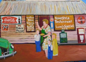 The unfinished painting by Ernest Lee of Grandma Arnie Abstein and her Island Grove Gas Station.
