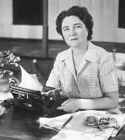 Marjorie Kinnan Rawlings at her typewriter in Cross Creek.