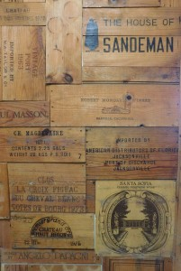 Old wine crates are part of the décor at Downtown Wine Cheese.