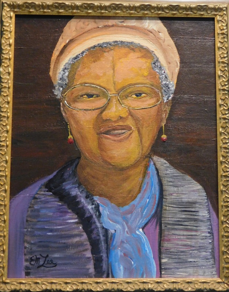 """Ernest Lees painting of """"Miss Jessie,"""" who was a cafeteria worker in Newberry as well as an aunt of Lees wife, Gloria."""