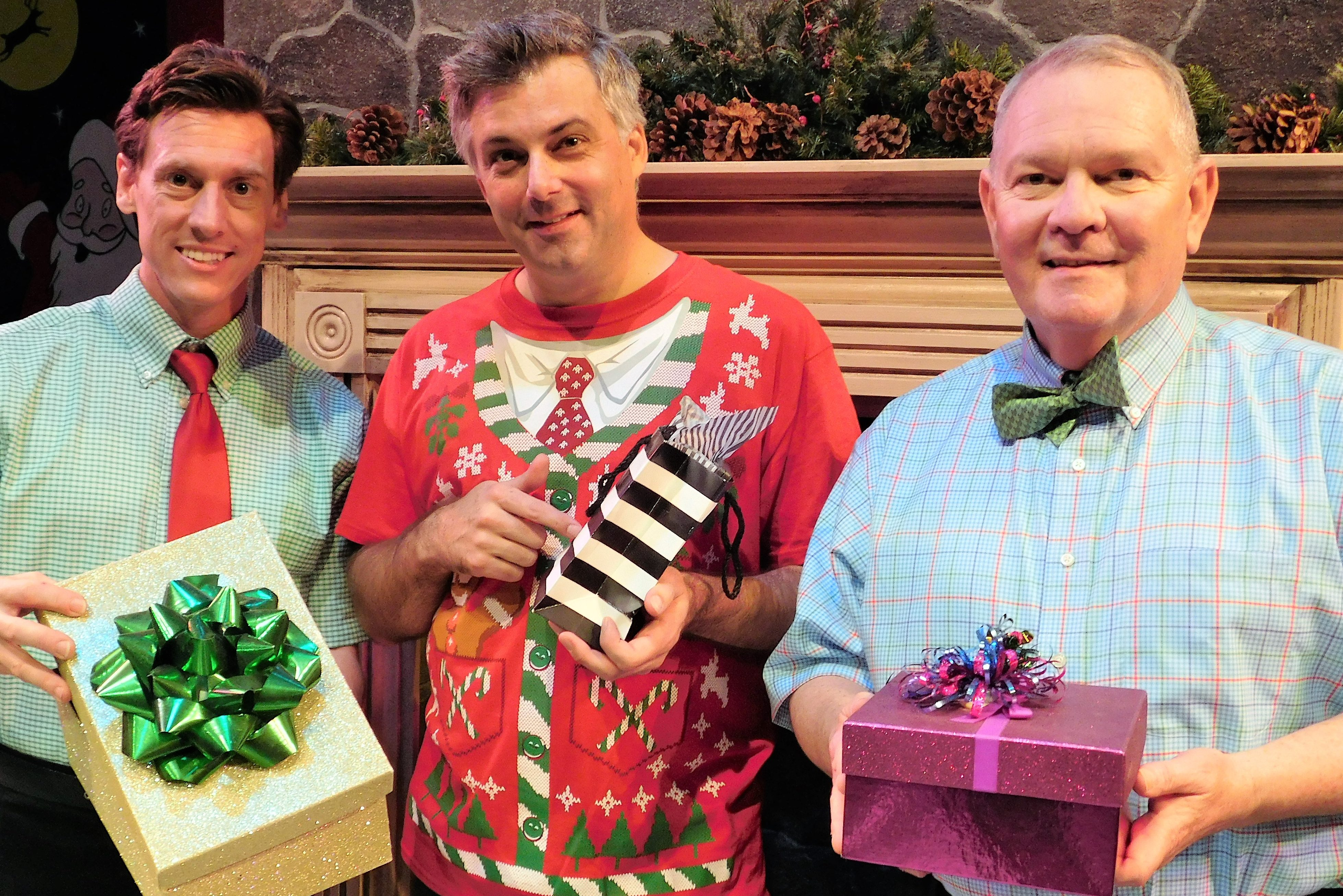From left, David Patrick Ford, Matthew Lindsay and Mark Chambers offer tidings of good cheer during The Ultimate Christmas Show Abridged)